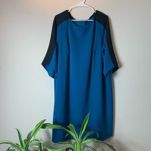 Adrianna Papell Teal And Black Colorblocked Dress